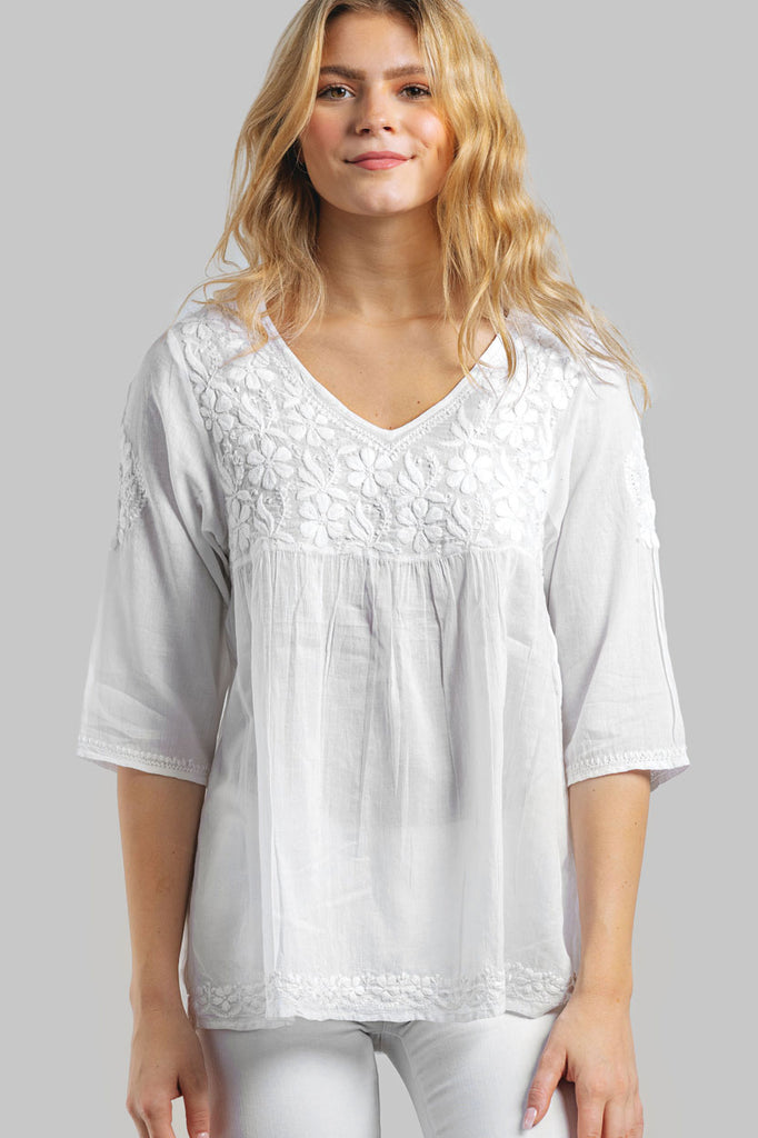 Tunic  Hand-Embroidered Cotton White