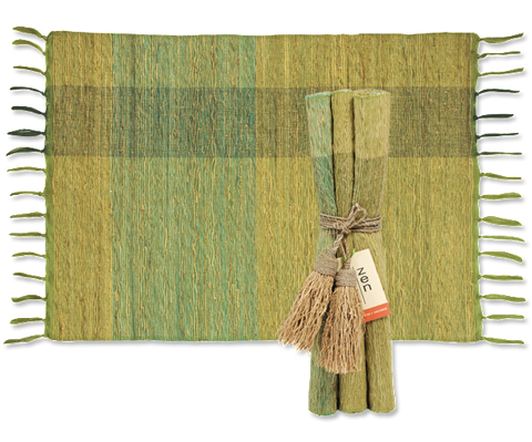 Place Mat Set/4- Vetiver - Green Blocks