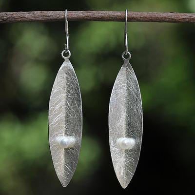 Sterling Silver Leaf Earrings with Freshwater Pearls