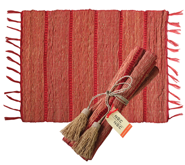 Place Mat Set/4- Vetiver - Red Persimmon Stripe