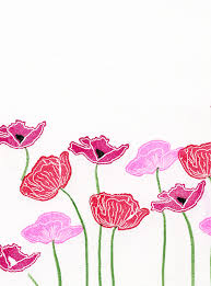 Rubber Stamp Tapestry Poppy Fields