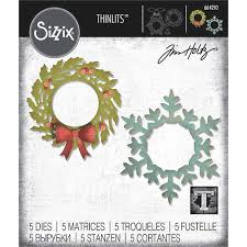 Tim Holtz Thinlits Dies - Wreath & Snowflake