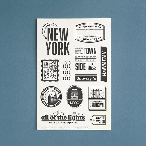 Everyday Explorers Co Passport: New York - 4x6 Clear Stamp Set