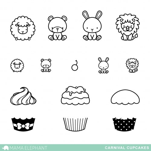Mama Elephant Carnival Cupcakes Clear Stamps