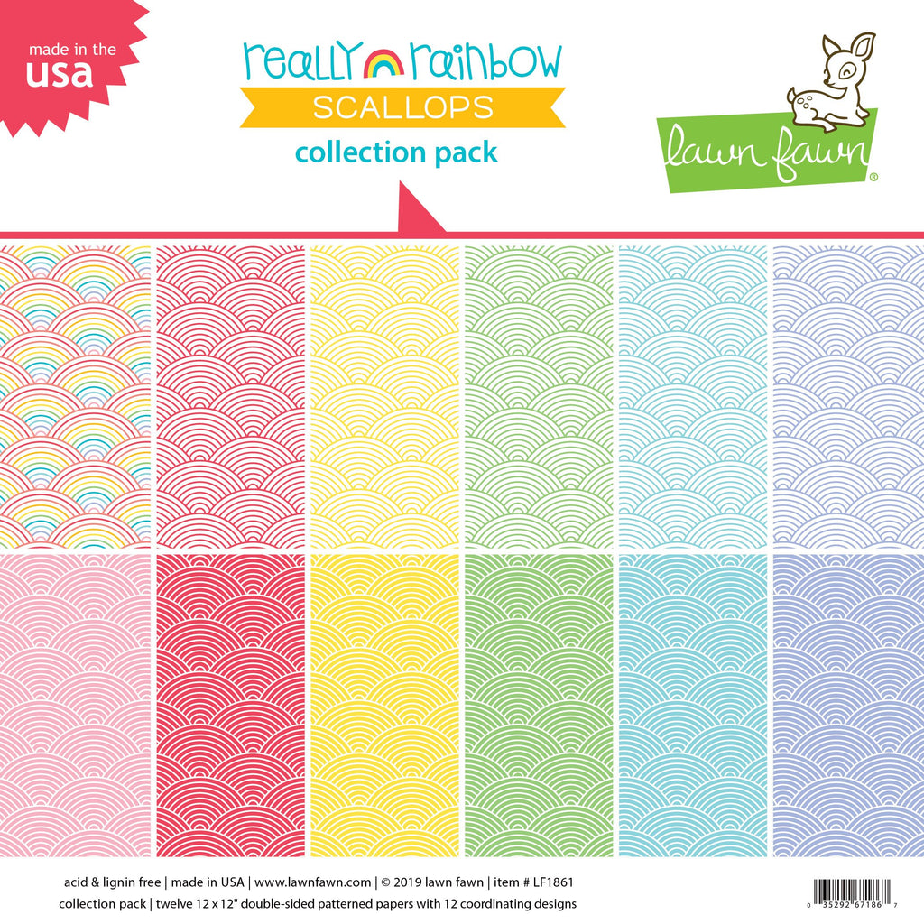 Lawn Fawn Really Rainbow Scallops Collection Pack 12 PCS