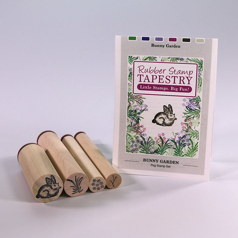 Rubber Stamp Tapestry Bunny Garden Peg Stamp Set