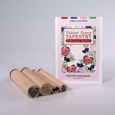 Rubber Stamp Tapestry Follow Your Heart Peg Stamp Set