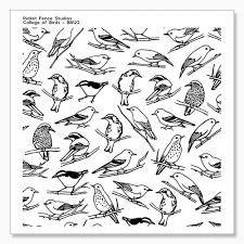Picket Fence Studios Collage of Birds Stamp