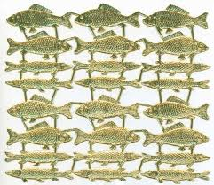 Gold Foil Dresden Paper Charms Fish 48pcs.