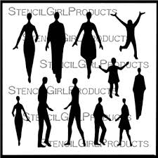 StencilGirl Small Figures People Stencil 6x6