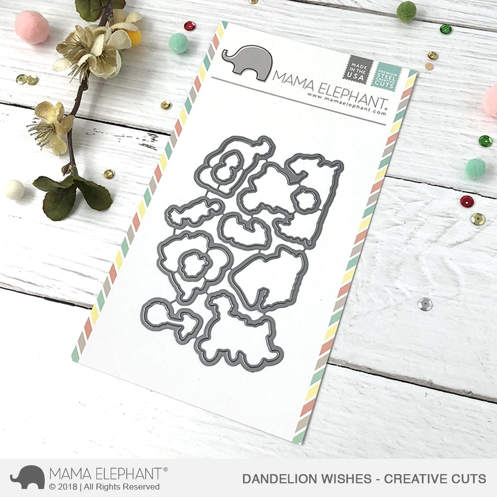 Mama Elephant Dandelion Wishes Clear Stamps