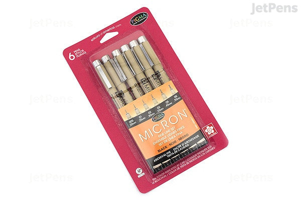Micron Black Pen Set of 6