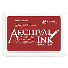 Ranger Archival Ink Pad RED GERANIUM Wendy Vecchi