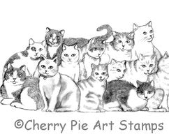 Cherry Pie Stamps - Group Of Cats