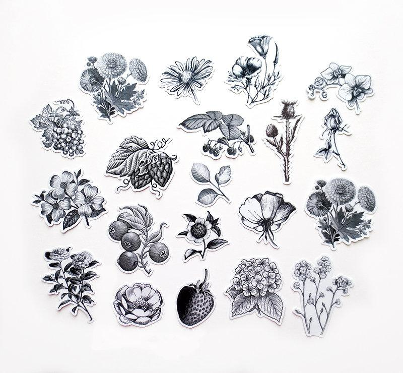 Etched Floral Black & White Stickers