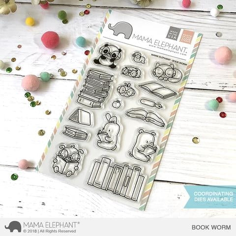 Mama Elephant Book Worm Clear Stamps