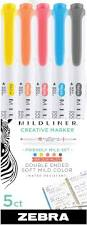 Zebra Mildliner Double Ended Highlighter Marker - 5 Pack - Friendly Mild Set