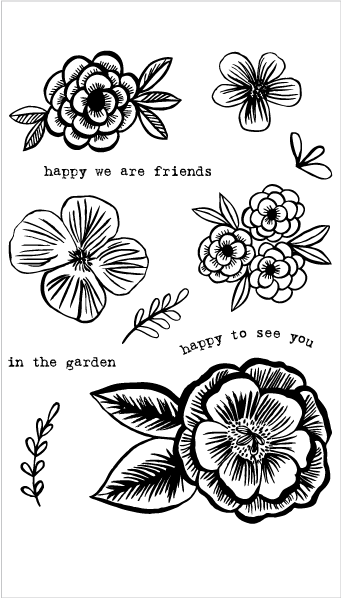 Pencil Flower Stamp Set