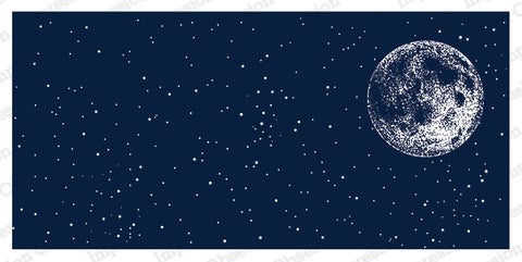 Impression Obsession Cling Stamps - Night Sky with Moon