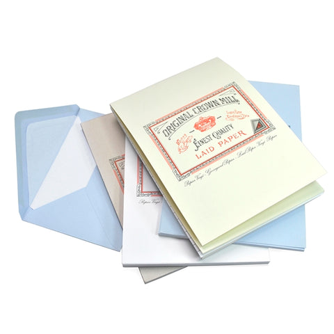 Crown Mill Laid Paper & Envelopes - Light Blue