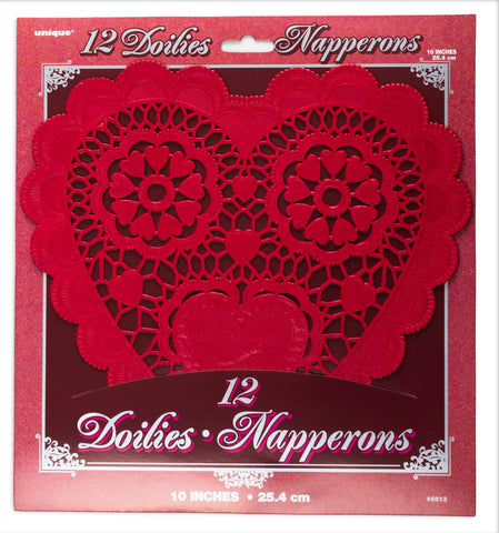 "Heart Doilies 10"" Red"
