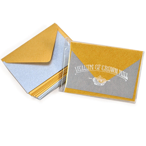 Crown Mill Vellum Cards & Envelopes - 2 x 3 Gold and Silver