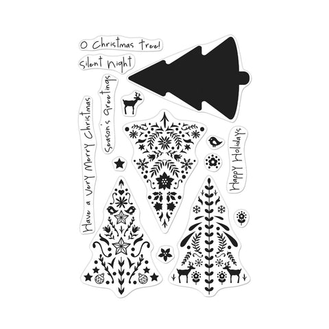 Color Layering Nordic Tree Cling Stamps