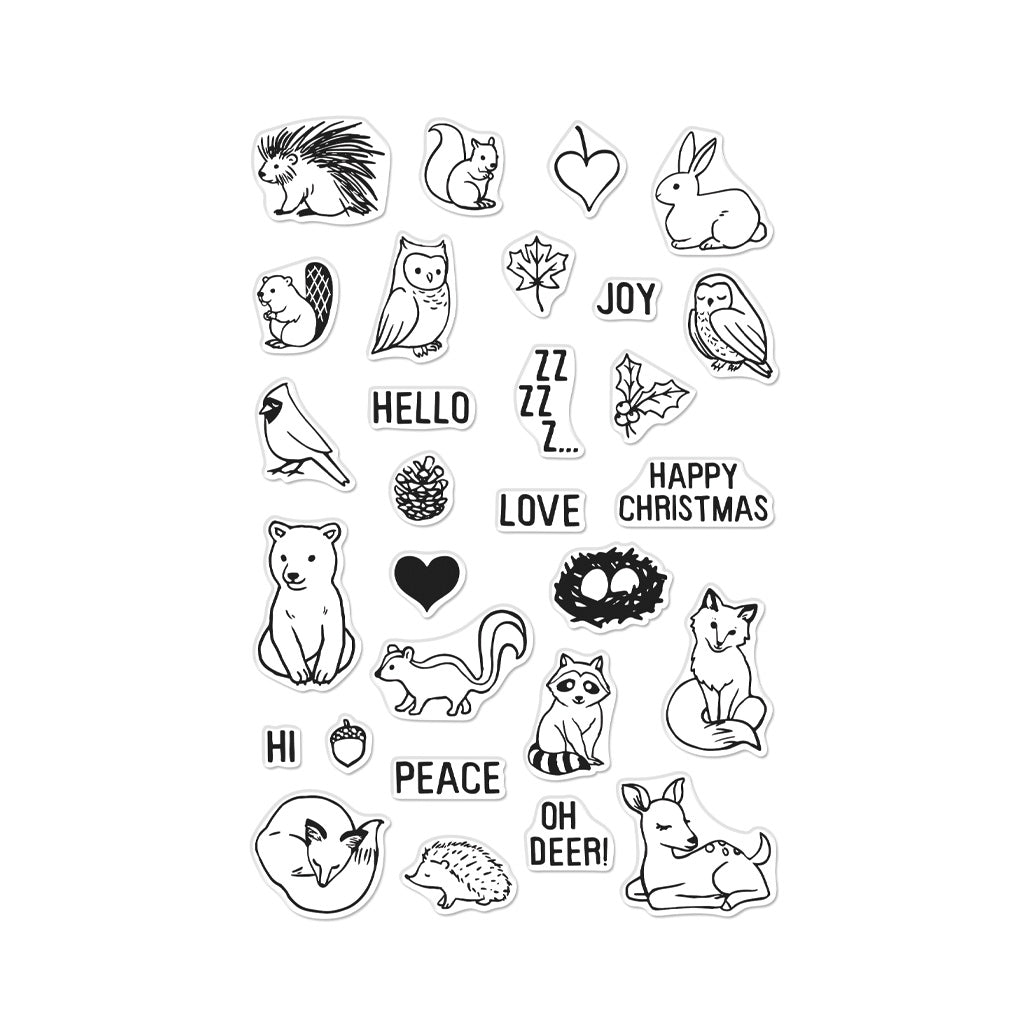 Winter Forest Animals Cling Stamps