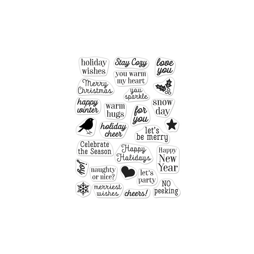 Greetings Christmas Messages Cling Stamps