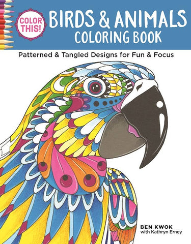 Birds and Animals Adult Coloring Book