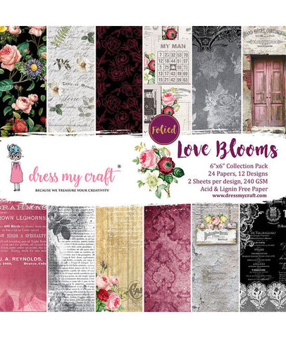 Dress My Craft - Paper Pad - Love Blooms 6x6