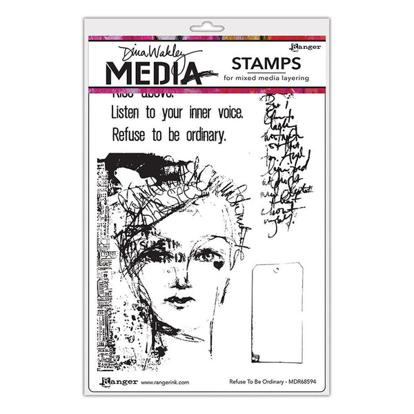 Dina Wakley Media Cling Stamps - Refuse to be Ordinary