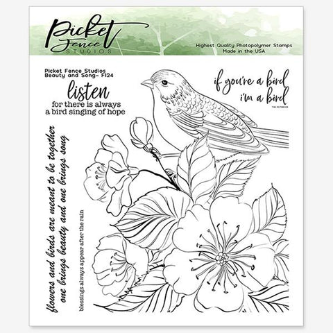 Picket Fence Studios Clear Stamps - Bird and Song