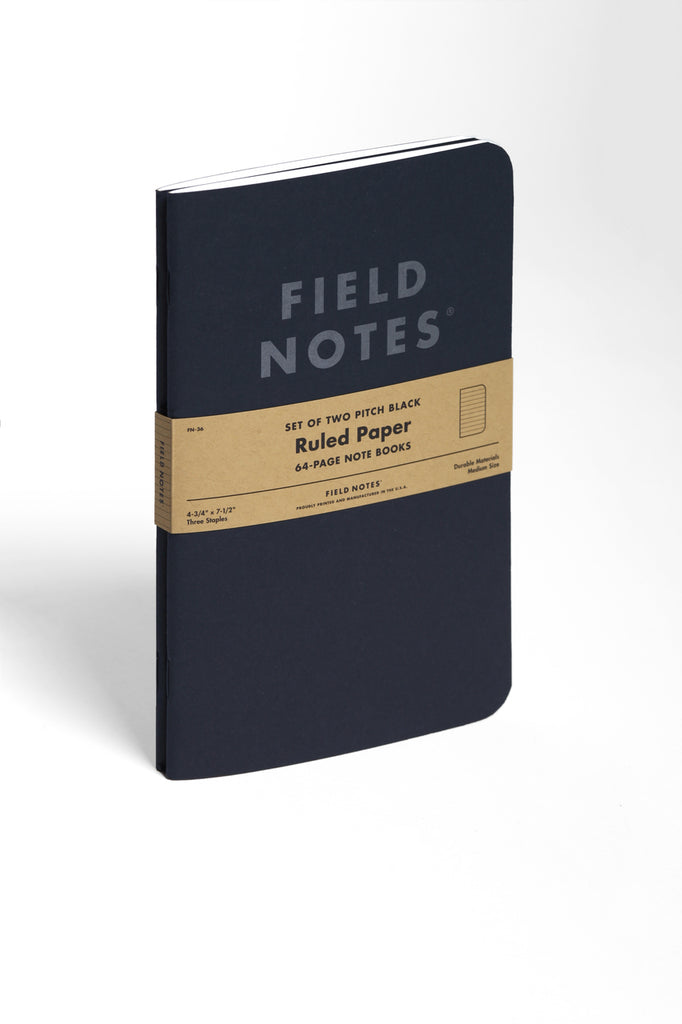 Field Notes - Pitch Black Ruled 2 Pk