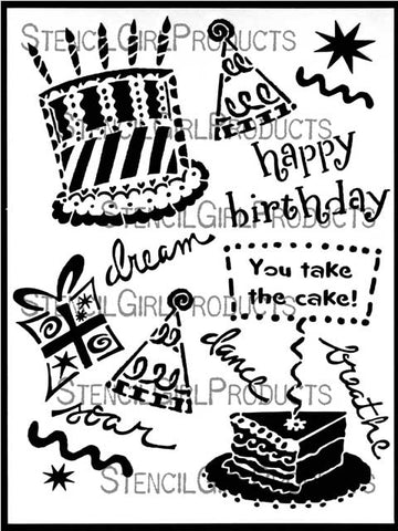 StencilGirl Happy Birthday Stencil 9x12