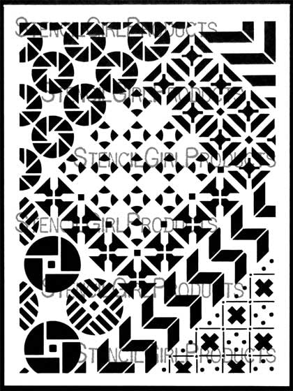 Crazy Quilts Calm & Frenzy Stencil 9x12