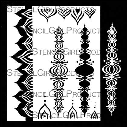 StencilGirl Pointed Scalloped Border Stencil 9x12