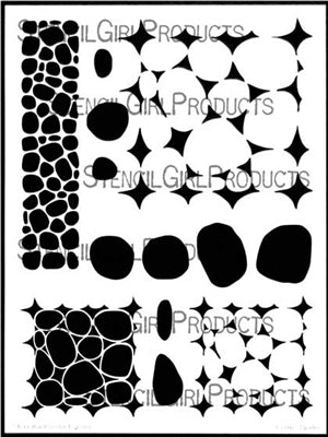 Stone and Pebble Tilings Stencils 9x12
