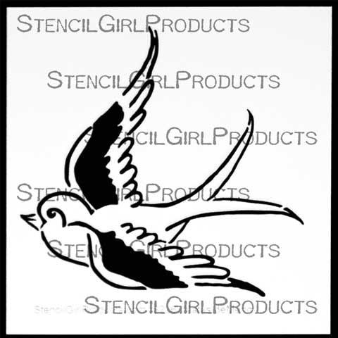 StencilGirl Free As A Bird Stencil 6x6