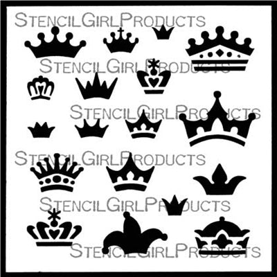 Stencil Girl Doll Crowns Stencil 6x6