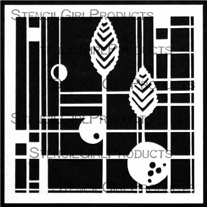 Prairie Style Window with Leaves 6x6 Stencil