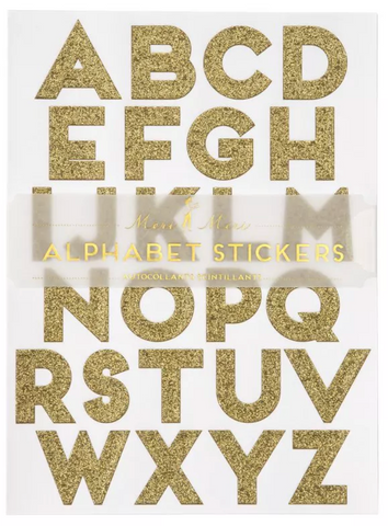 Alphabet Gold Glitter Stickers