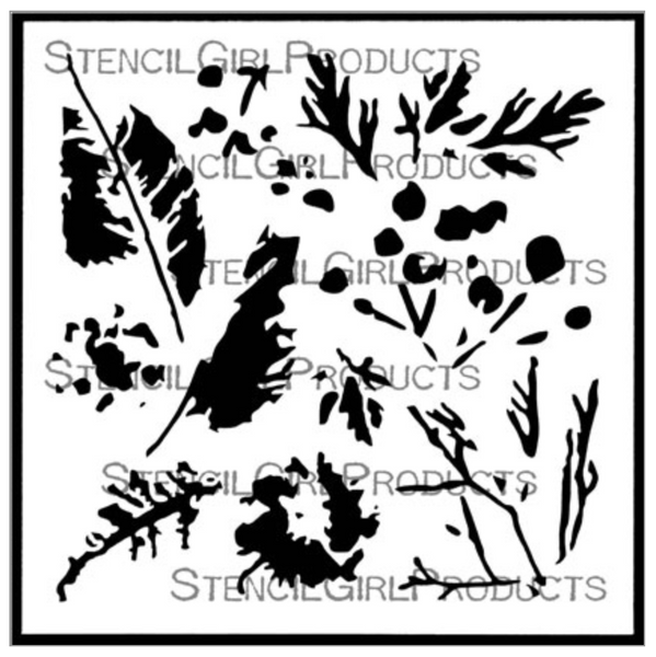 StencilGirl Leaf and Clover Prints Stencil 6x6