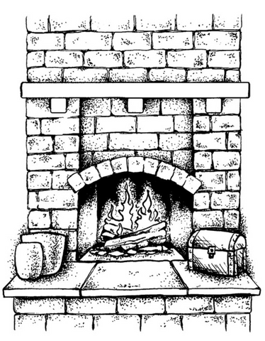 Brick Fireplace Cling Stamp