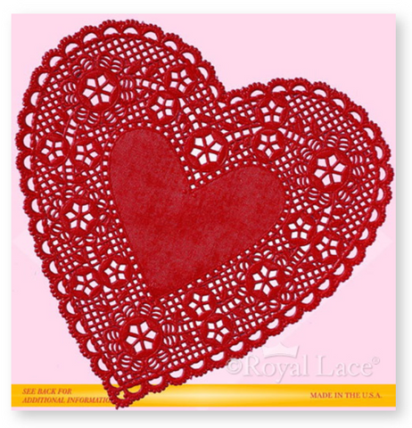 "Heart Doilies 4"" Red"