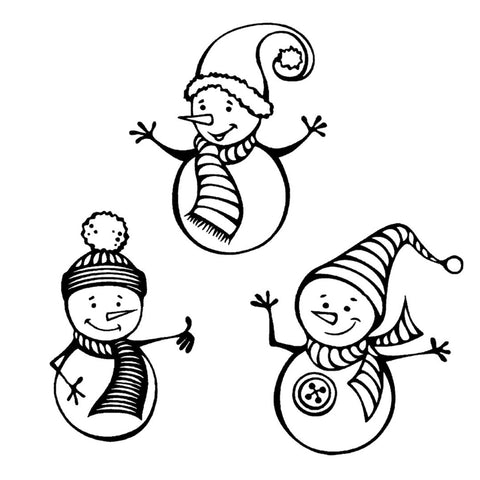 Snowman Trio 1 Cling Stamp