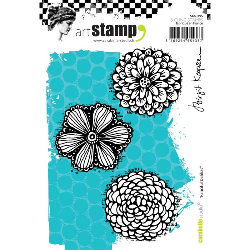 Carabelle - Fanciful Dahlias Cling Stamp
