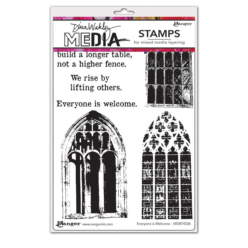 Dina Wakley Media Cling Stamps - Everyone is Welcome