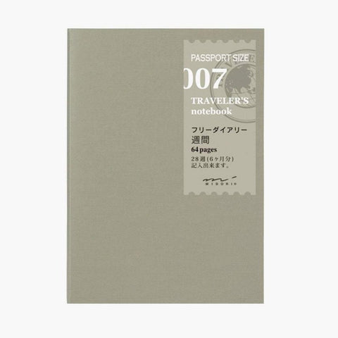Traveler's Notebook Passport Size Refill - 007 Free Diary Weekly