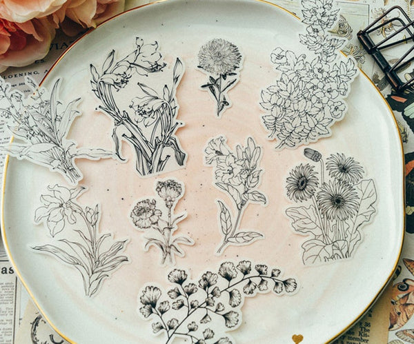 Translucent Flower Etchings B&W Stickers